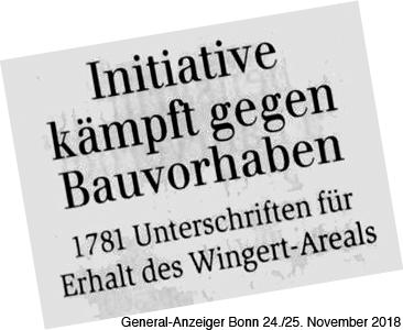 General-Anzeiger Bonn 24./25. November 2018: Initiative kämpft gegen Bauvorhaben, 1781 Unterschriften für den Erhalt des Wingert-Areals